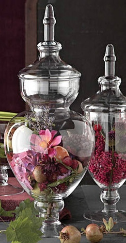 If you don't find any scents your love but find some amazing looking potpourri put it in some amazing apothecary vases and create a center piece!