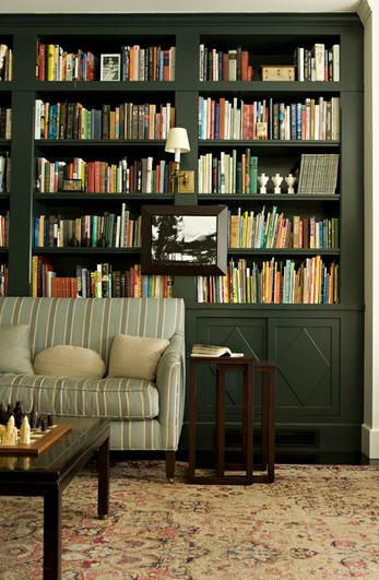 Built-in bookshelves are perfect for an office
