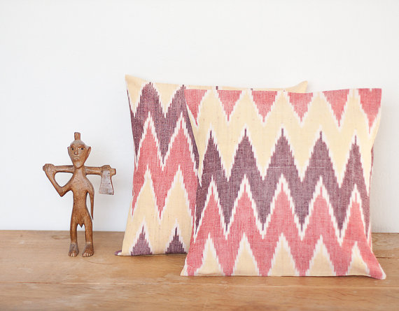 Colorful Ikat Throw Pillows from French Felt's Etsy site for $36.36 each