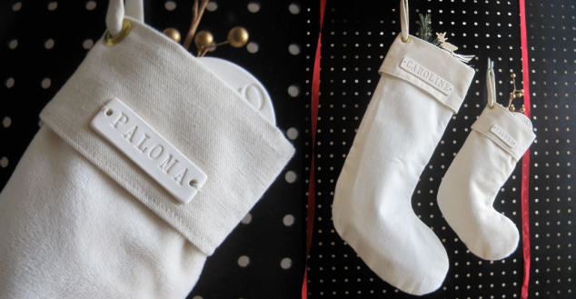 Christmas Stocking with Personalized Ceramic Name Plate for $68. These are ADORABLE!
