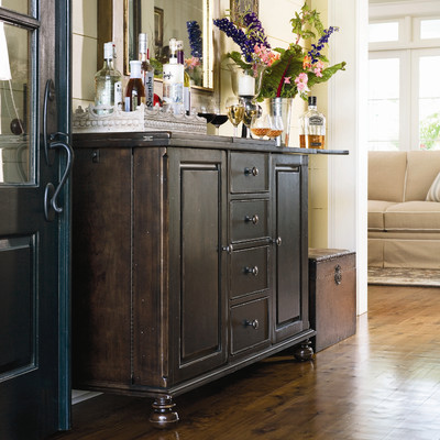 For a less expensive option there is the Paula Deen Home Captain Mike's Bar in Tobacco from Wayfair.com for only $1820 inexpensive but high quality and a gorgeous color! Great for those smaller entertaining rooms!