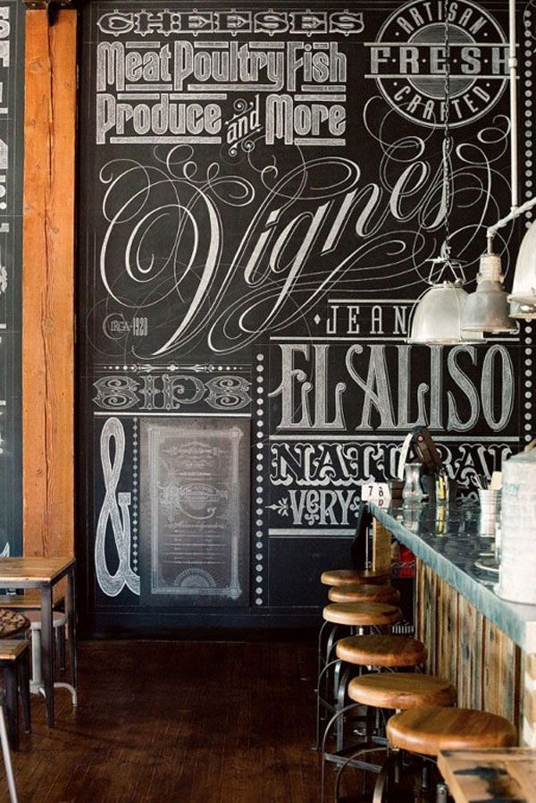 Maybe the key to a chalkboard paint wall is a GORGEOUS typeface?