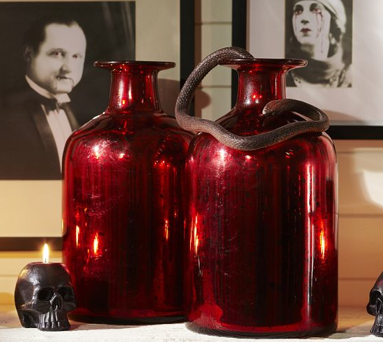 Red Mercury Glass Vases for only $28.99 from Pottery Barn! Perfect for a creepy Halloween mantle or even a good early Christmas decoration buy!!
