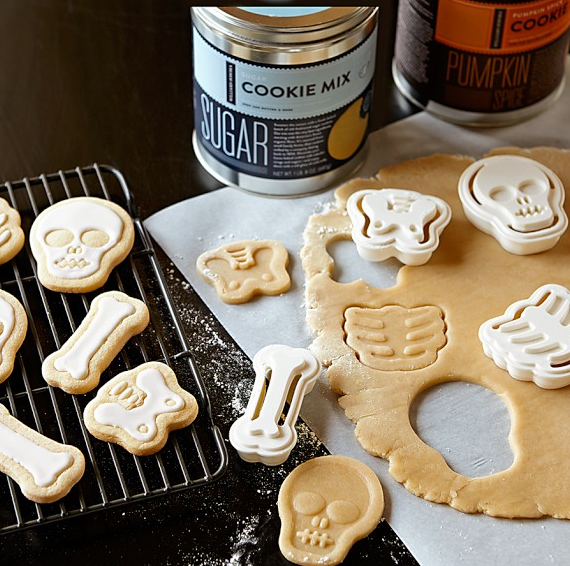 Perfect for the Halloween Treats! A set of 4 Halloween Skeleton Cookie Cutters for only $3.99 from William Sonoma!!