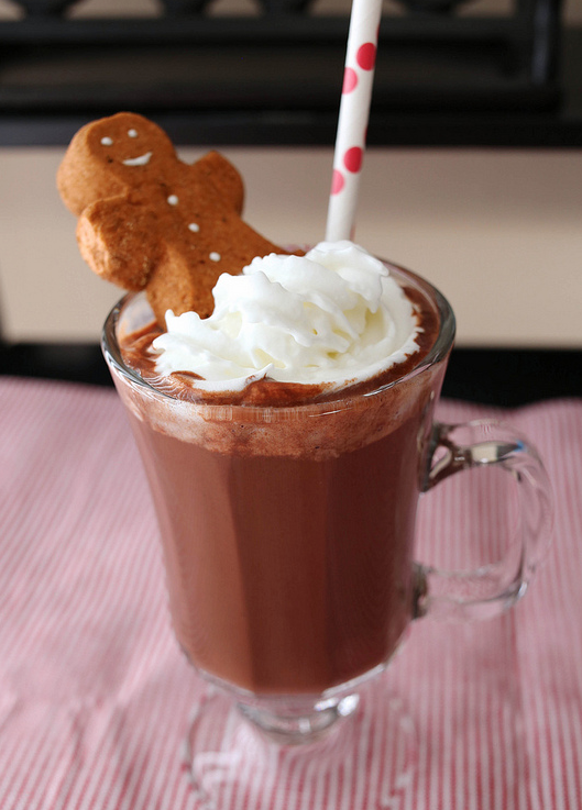 GINGERBREAD HOT COCOA Ingredients: 1 cup almond milk (or any milk) 2 tsp brown sugar 2 tsp molasses 2 tbsp cocoa powder 1/4 tsp ground cinnamon 1/4 tsp ground ginger pinch of nutmeg whipped cream and Peeps gingerbread marshmallows, for topping Directions: In a small saucepan over low heat, continually whisk together all of the ingredients except for the whipped cream and marshmallows until hot. Pour into mug and top with whipped cream and marshmallows. *from www.lovintheoven.com