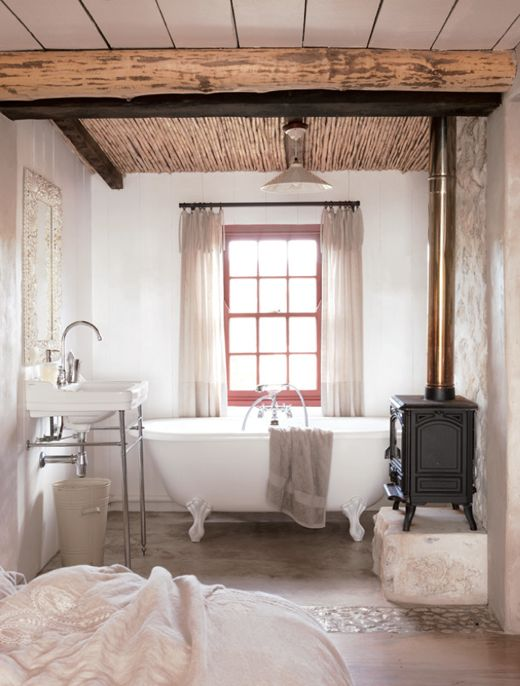 A warm bubble bath and a fire! I love this old school charm! How cozy and gorgeous!