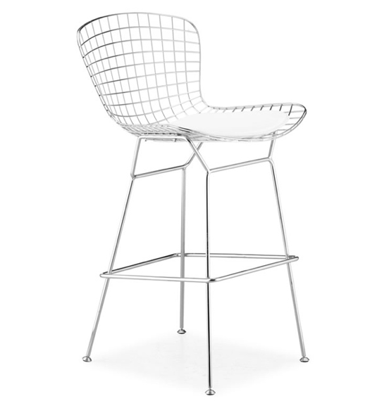 The Zuo Wire Chrome Bar Chair from Overstock.com is priced at $359.99 and perfect for a funky bar or patio setting.