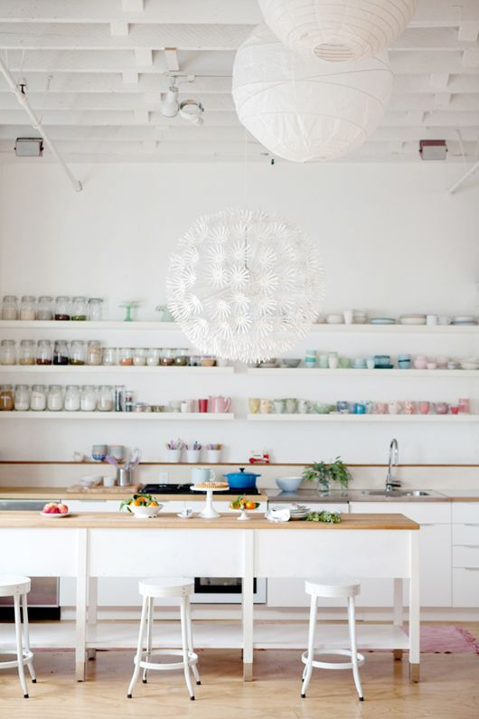 I love the idea of a completely white studio. Allows your creativity to be the color for the room.