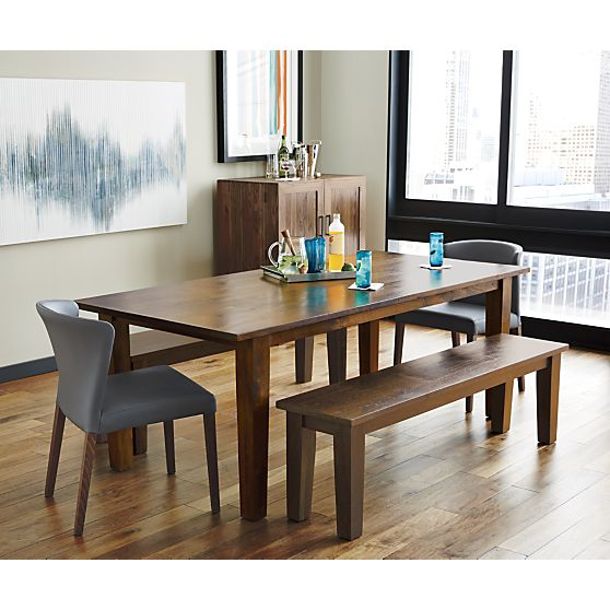 "This is the Basque Honey 62"" Bench dining room table from West Elm"