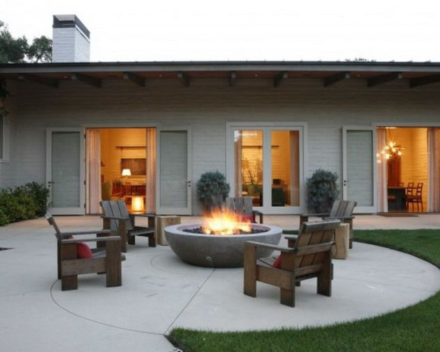 I LOVE the idea of a big concrete bowl as a fire pit. Easy to move and easy to maintain.