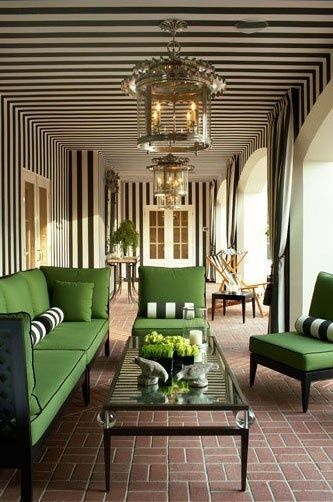 Green with black and white stripes. A preppy dream.