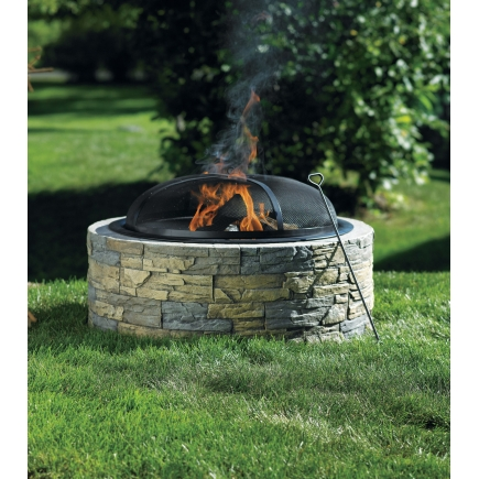 This is a great stone fire pit! Small and Easy to use. The Living Accents Stacked Stone Fire pit from Ace Hardware for only $179.99