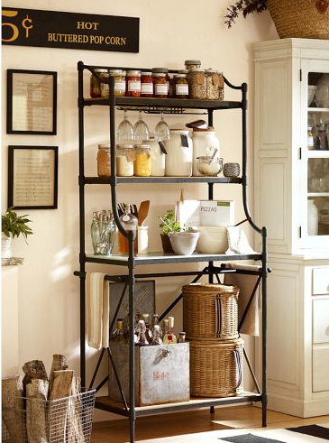 For a less raw and rustic look here is the Hamilton Baker's Rack from Pottery Barn, on sale right now for $1,099