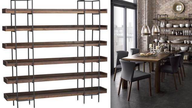 This amazing wood and metal combo is the Beckett Shelving System from Crate & Barrel for only $1,499. Love Love Love!