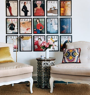 Who doesn't have a few of their favorite magazine covers laying around? This is perfect wall art!