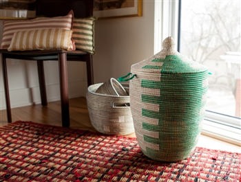 I love this Senegal Green Laundry Hamper for $139. I am obsessed with this for a guest bathroom or powder room!