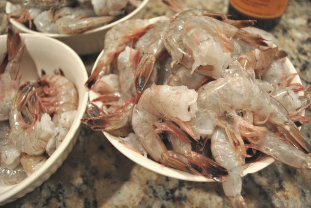 Our fresh shrimp right from the boat that caught them!