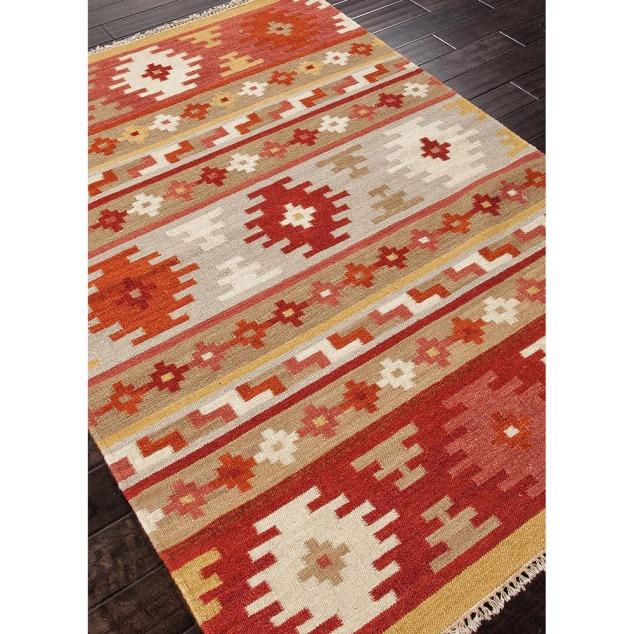 This is the Handmade Flat Weave Tribal Accent Rug from Overstock.com