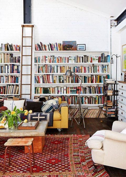 I just love the ladder. It just makes a home library funky and cool.