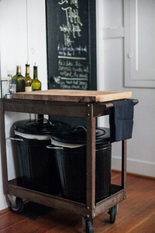 Great hiding spot for these chic trash cans! Or maybe fill them with dog food (for those puppy friendly homes)!