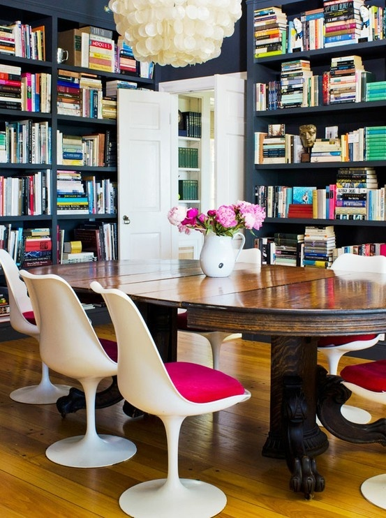 I love this double duty... Library and dining room!