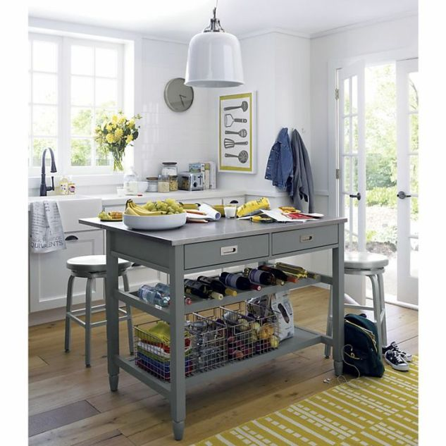 This is the front runner as of lately! This is the Sheridan Grey Kitchen Island from Crate and Barrel for $699