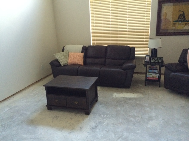My sweet man set up our living room again after the carpet was ripped out so it didn't look so sad!