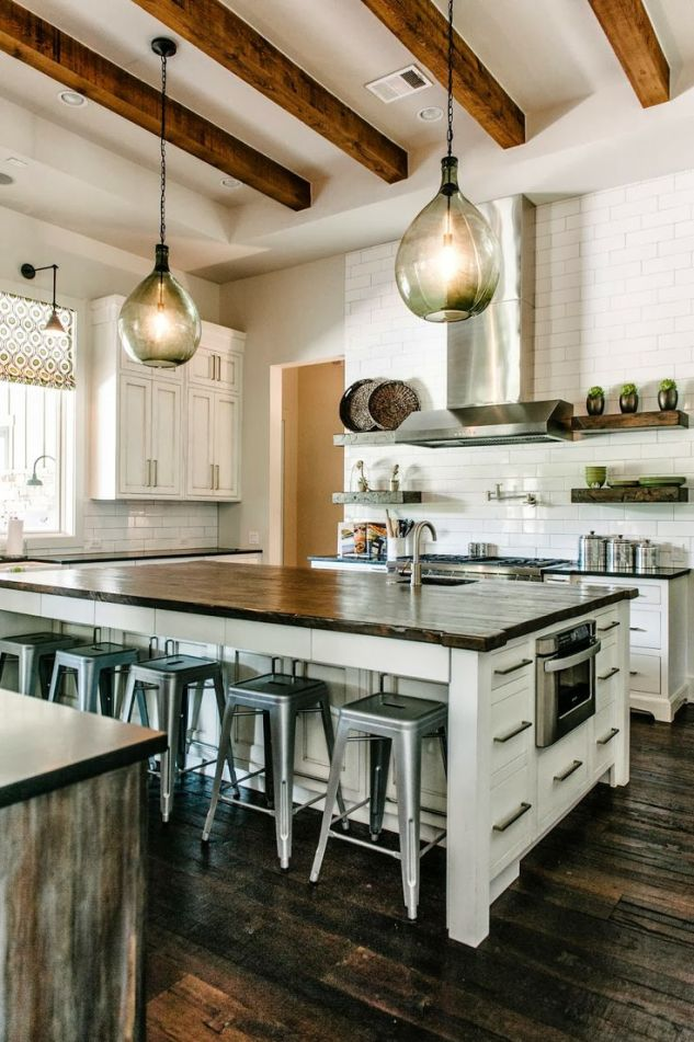 I also just love the combo of these pendant lights and steel barstools.