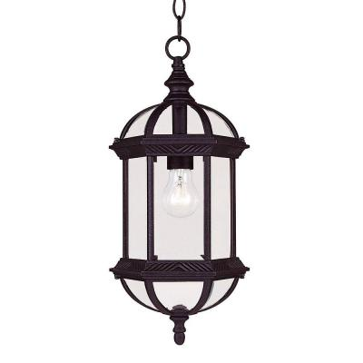 Here is a Illumine Satin Black Hanging Lantern from Home Depot.