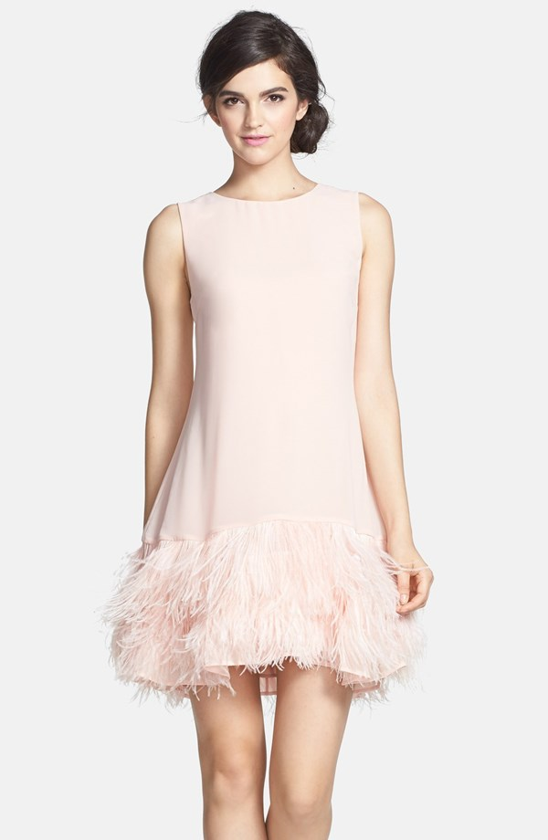 This may not be white, but it is still amazing for a reception dress! Erin Fetherson's PHEOBE Ostrich Feather Hem dress from Nordstrom for $395