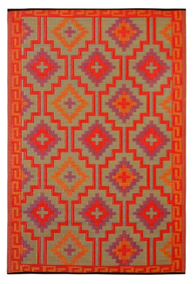 This is the Tangiers Kelim Reversible Indoor/Outdoor Rug in Flame.
