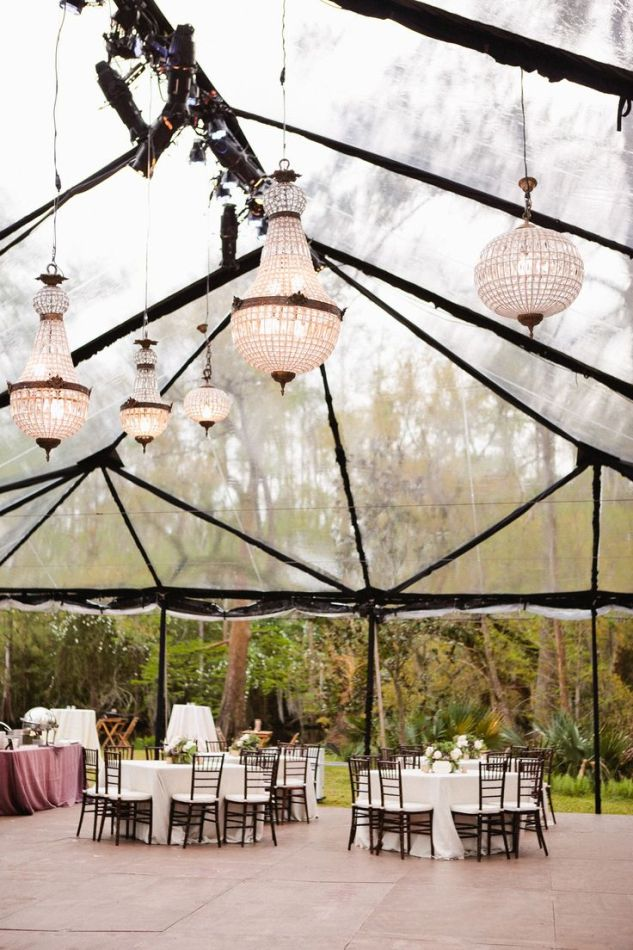 What a unique way to tent a wedding, a clear tent!