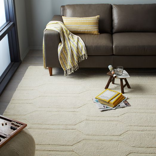 A fantastic neutral textured rug for any space, HONEYCOMB TEXTURED WOOL RUG in Ivory from West Elm for $699