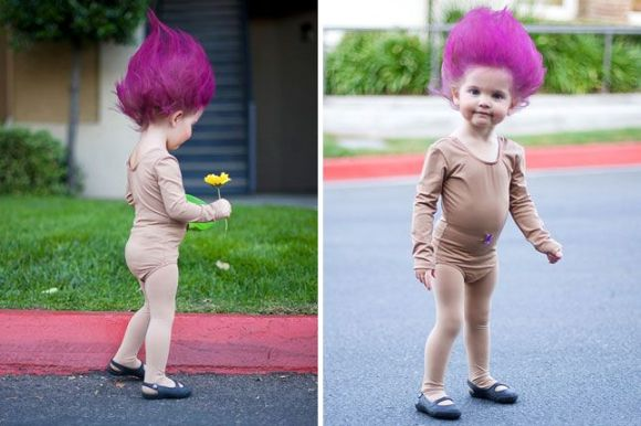 I don't know if this little girl will ever remember the Troll dolls, but I just adore this!