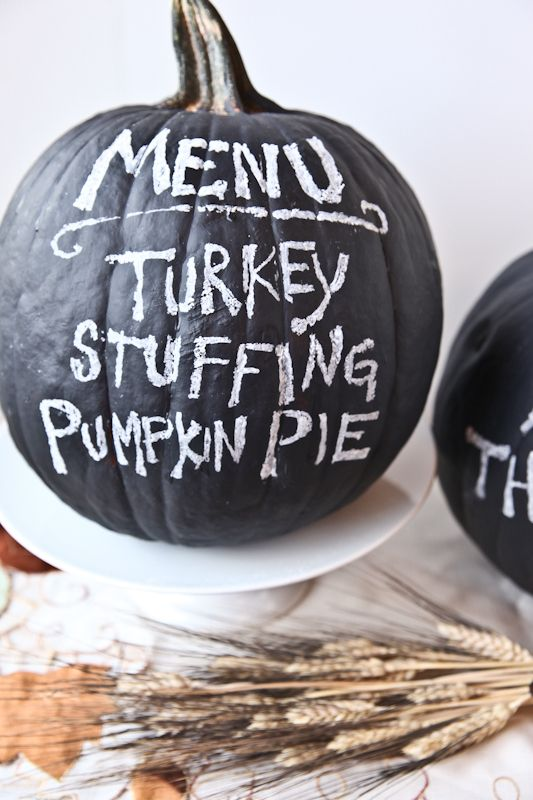 I love this! Paint a pumpkin with chalkboard paint and use it as your Halloween Party Menu Board!