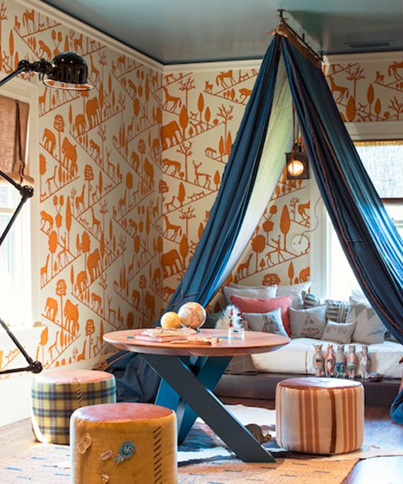 Painted ceiling with fun wall paper!  I love this color contrast!