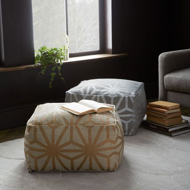 Star Printed Cotton Dhurrie Pouf from West Elm for $249