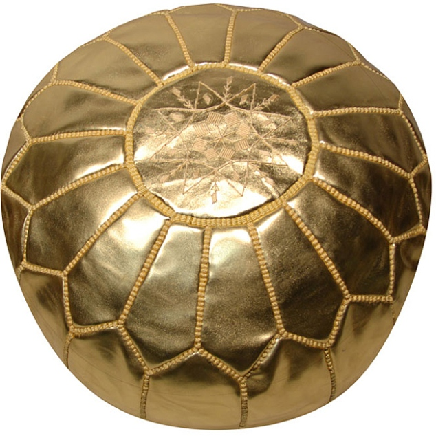 Leather Metallic Gold Pouf from Overstock.com for around $220